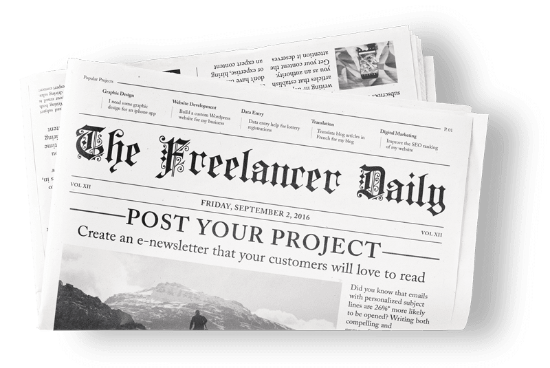 Illustration of a Freelancer newspaper.