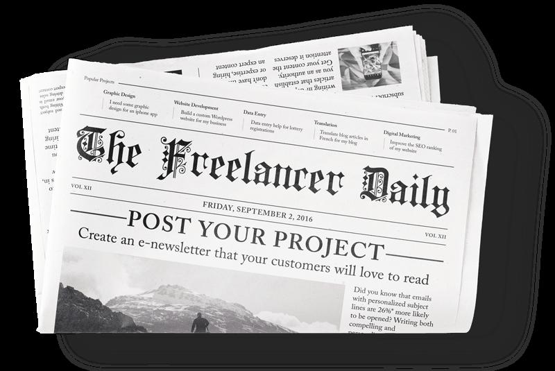 Ilustración de un boletín de Freelancer.