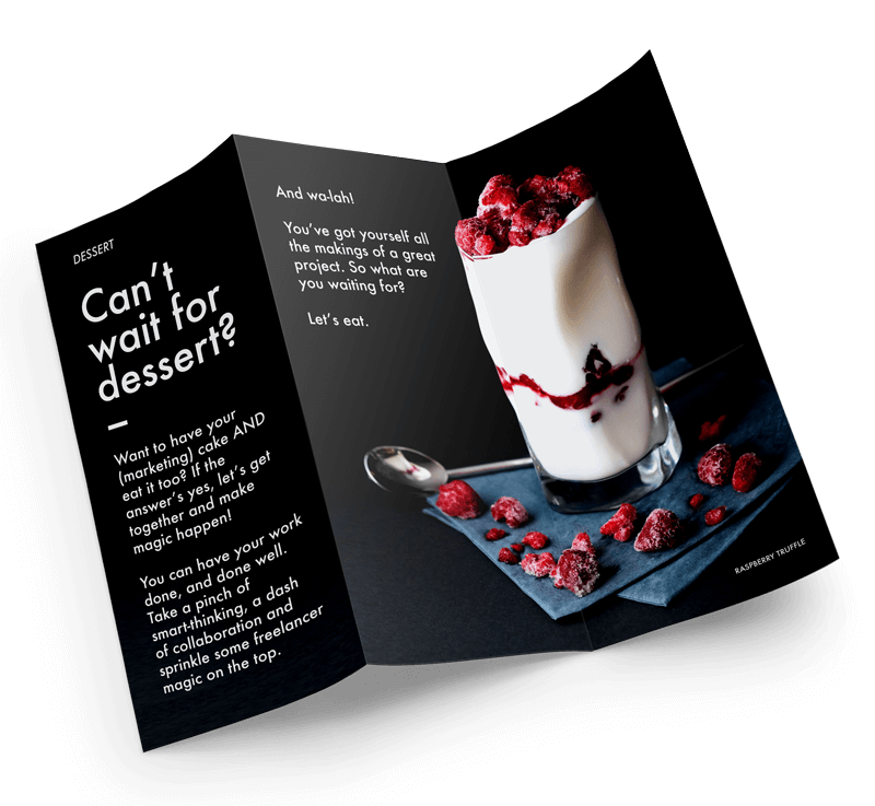 Illustration of a brochure about dessert.