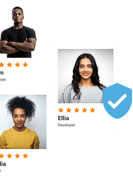 Freelancer profile cards with verified badge