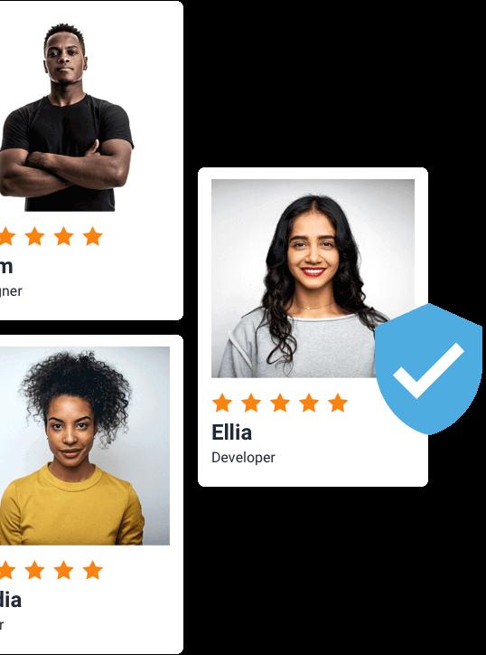 Freelancer profilkártyák hitelesített jelvénnyel