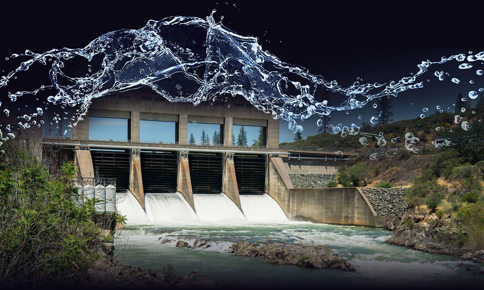 Dam with water splash overlaid