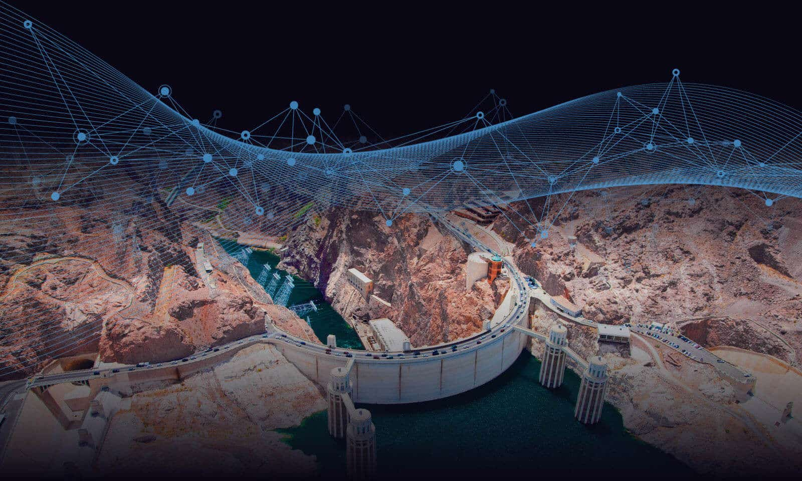 Hoover dam with futuristic lines overlaid